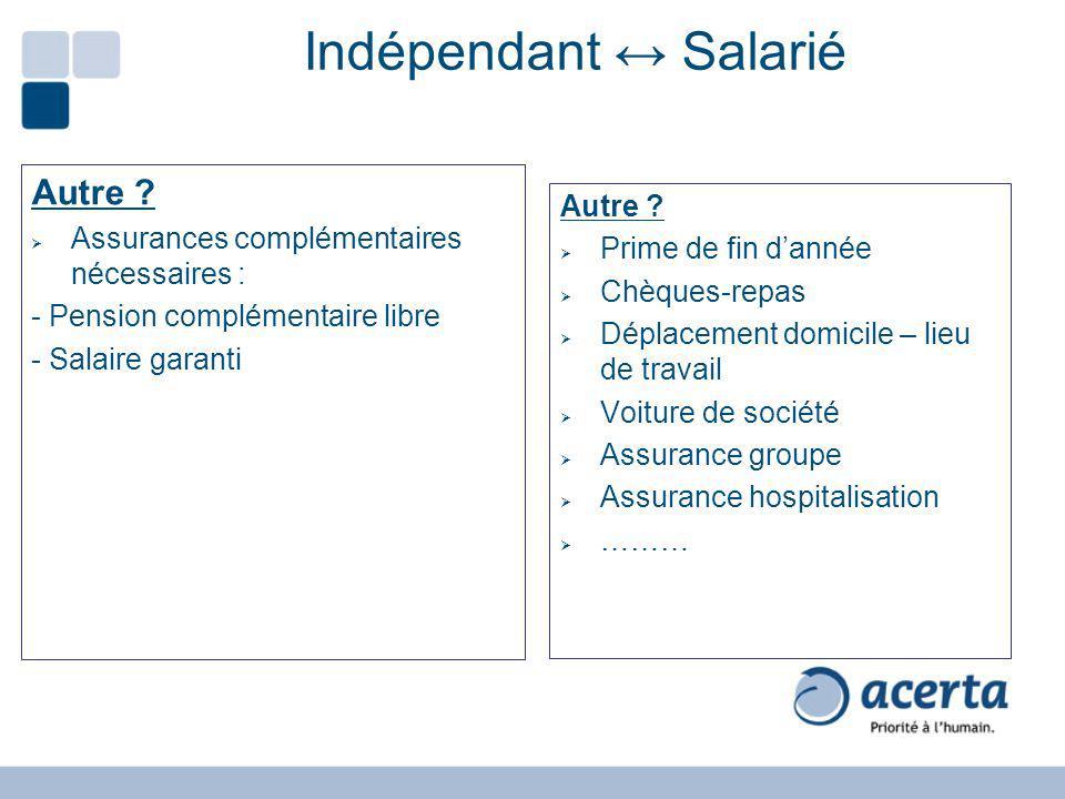 Indépendant Salarié Autre ? Assurances complémentaires nécessaires : - Pension complémentaire libre - Salaire garanti Autre ? Prime de fin dannée Chèq