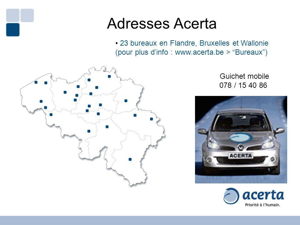 23 bureaux en Flandre, Bruxelles et Wallonie (pour plus dinfo : www.acerta.be > Bureaux) Guichet mobile 078 / 15 40 86 Adresses Acerta