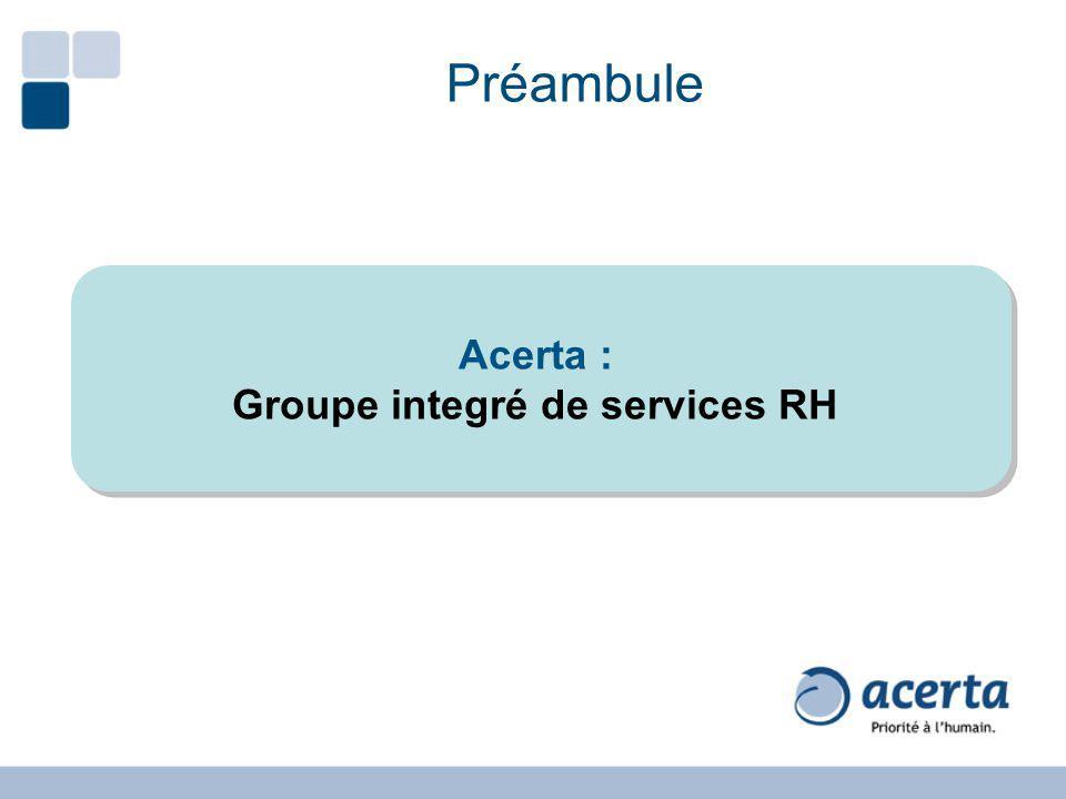 Préambule Acerta : Groupe integré de services RH Acerta : Groupe integré de services RH
