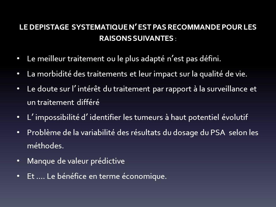LE DEPISTAGE SYSTEMATIQUE N EST PAS RECOMMANDE POUR LES RAISONS SUIVANTES : Le meilleur traitement ou le plus adapté n est pas défini.