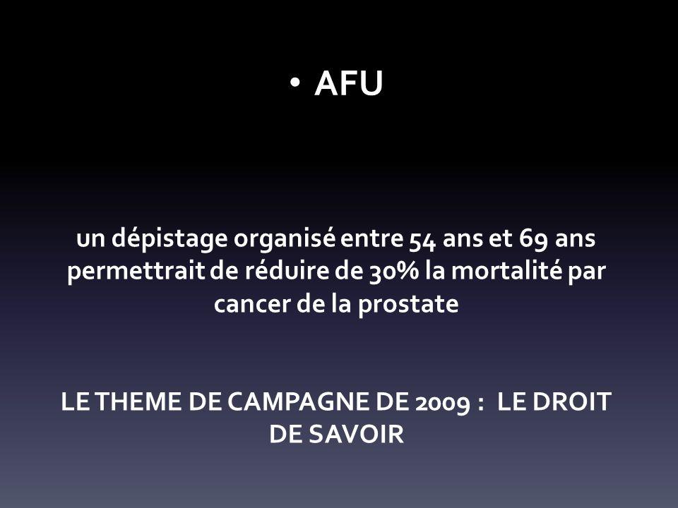 un dépistage organisé entre 54 ans et 69 ans permettrait de réduire de 30% la mortalité par cancer de la prostate LE THEME DE CAMPAGNE DE 2009 : LE DROIT DE SAVOIR AFU