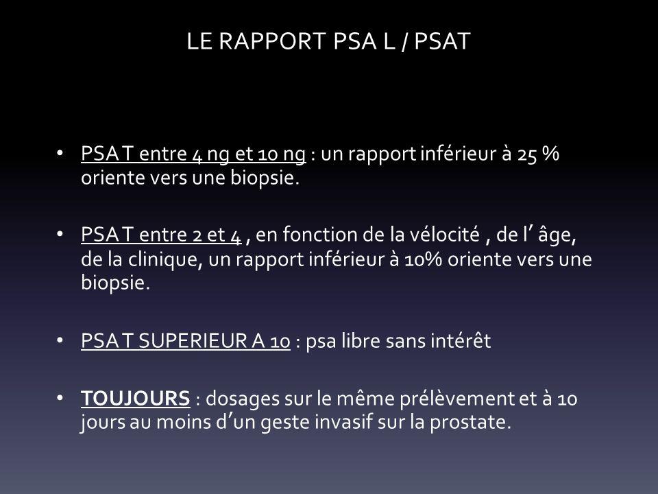 LE RAPPORT PSA L / PSAT PSA T entre 4 ng et 10 ng : un rapport inférieur à 25 % oriente vers une biopsie. PSA T entre 2 et 4, en fonction de la véloci