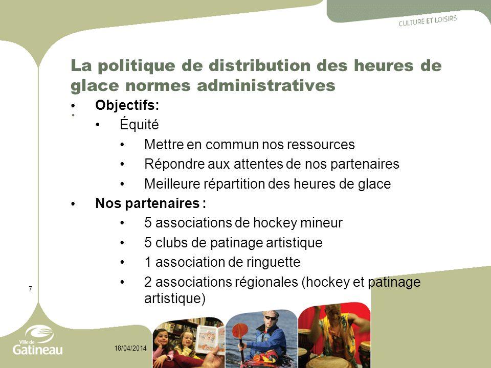 7 18/04/2014 La politique de distribution des heures de glace normes administratives. Objectifs: Équité Mettre en commun nos ressources Répondre aux a