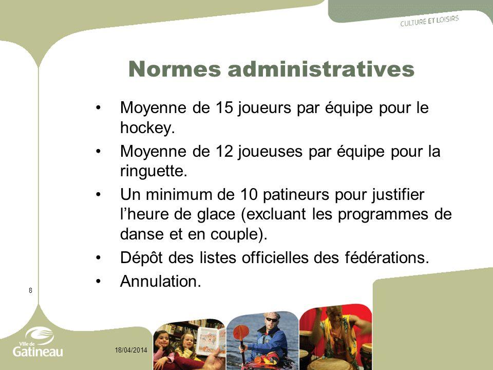 9 18/04/2014 Recommandations Dans le but doptimiser lutilisation des heures de glace, Pour le hockey : effectuer les entraînements à 2 équipes par session pour les catégories novice à pee-wee; organiser les leçons du programme M.A.H.G.