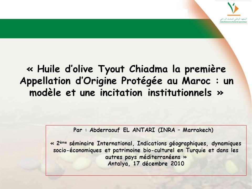 « Huile dolive Tyout Chiadma la première Appellation dOrigine Protégée au Maroc : un modèle et une incitation institutionnels » Par : Abderraouf EL AN