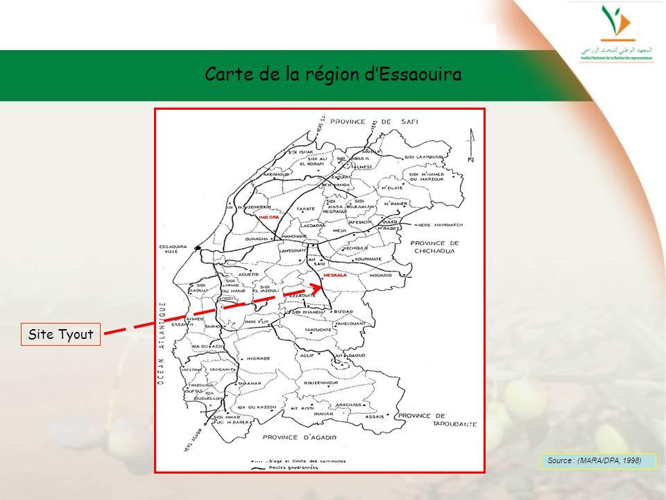 Carte de la région dEssaouira Source : (MARA/DPA, 1998) Site Tyout