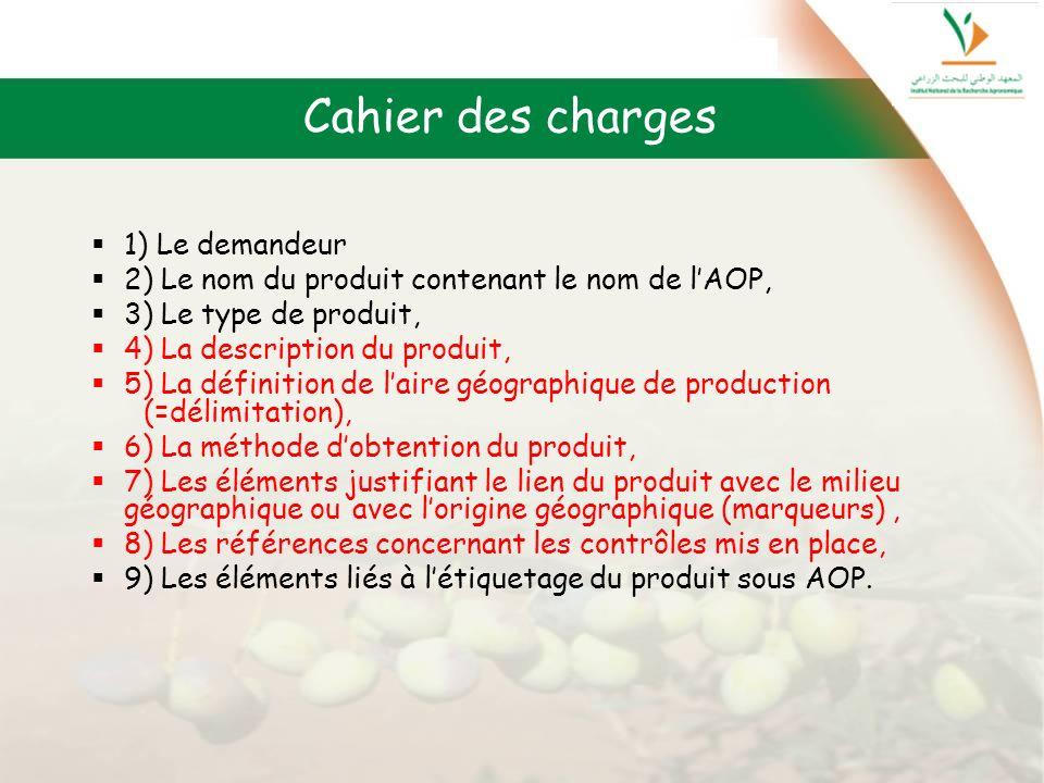 Cahier des charges 1) Le demandeur 2) Le nom du produit contenant le nom de lAOP, 3) Le type de produit, 4) La description du produit, 5) La définitio