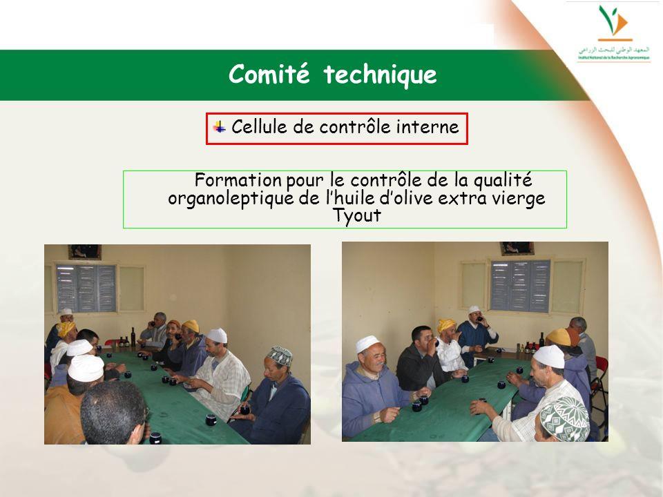 Comité technique Cellule de contrôle interne Formation pour le contrôle de la qualité organoleptique de lhuile dolive extra vierge Tyout