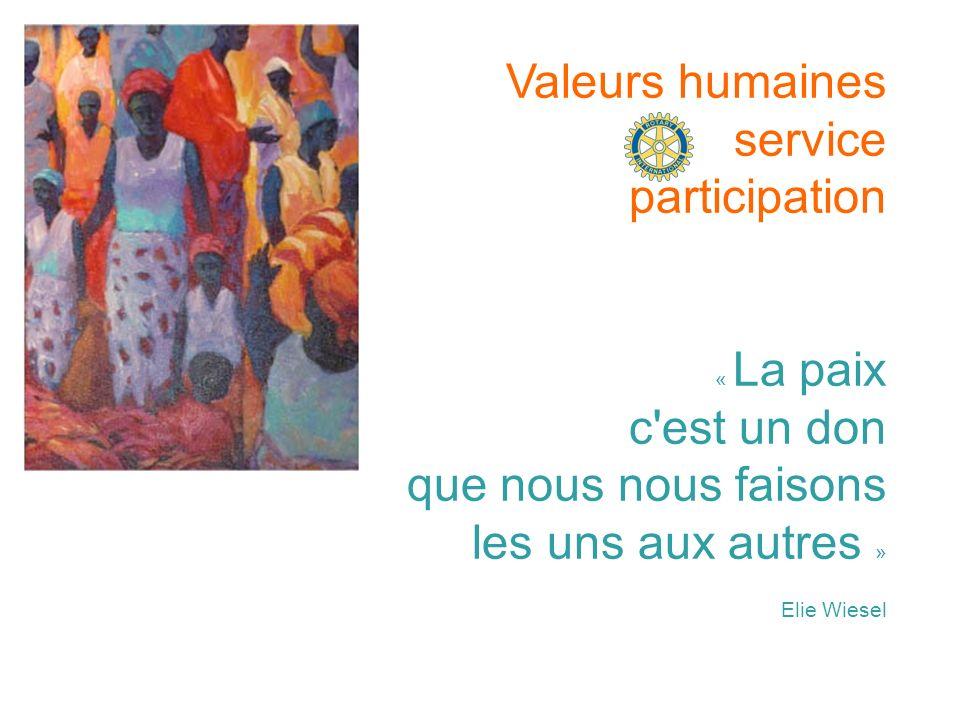 Valeurs humaines service participation « La paix c'est un don que nous nous faisons les uns aux autres » Elie Wiesel