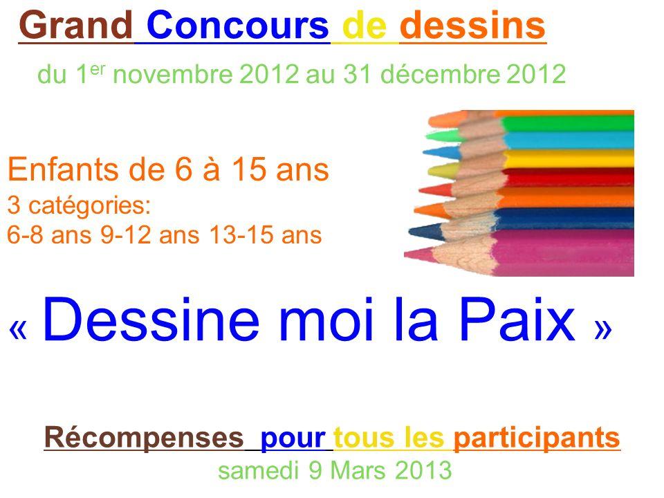 Grand Concours de dessins du 1 er novembre 2012 au 31 décembre 2012 Enfants de 6 à 15 ans 3 catégories: 6-8 ans 9-12 ans 13-15 ans « Dessine moi la Pa