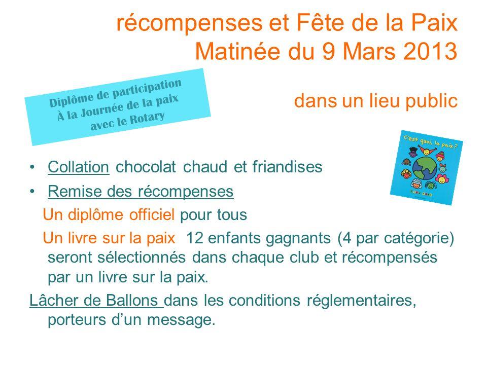 récompenses et Fête de la Paix Matinée du 9 Mars 2013 dans un lieu public Collation chocolat chaud et friandises Remise des récompenses Un diplôme off