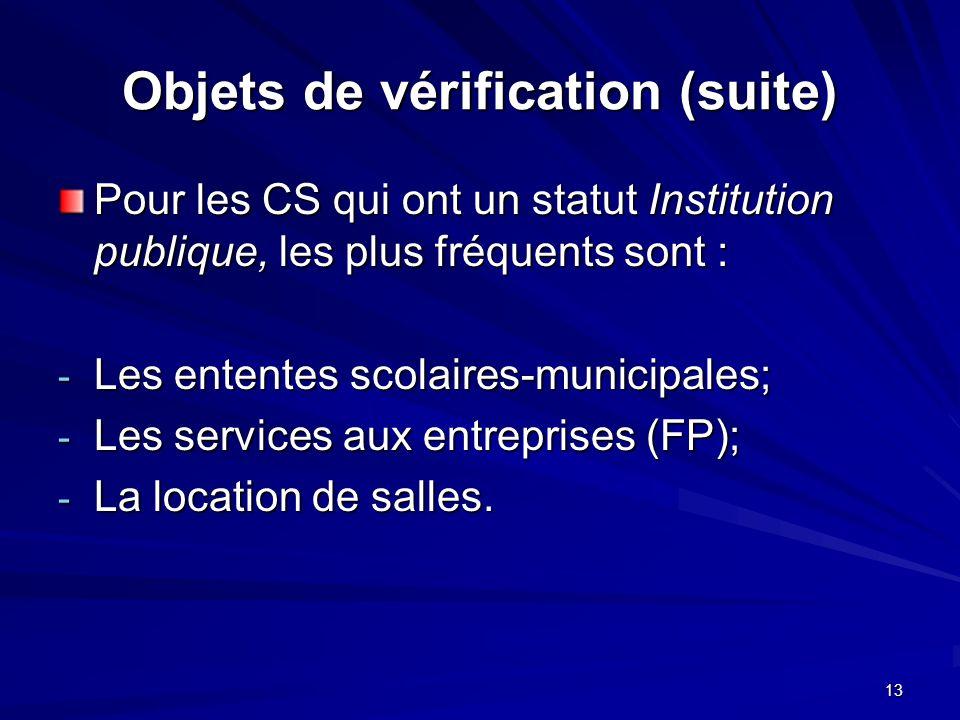 13 Objets de vérification (suite) Pour les CS qui ont un statut Institution publique, les plus fréquents sont : - Les ententes scolaires-municipales; - Les services aux entreprises (FP); - La location de salles.
