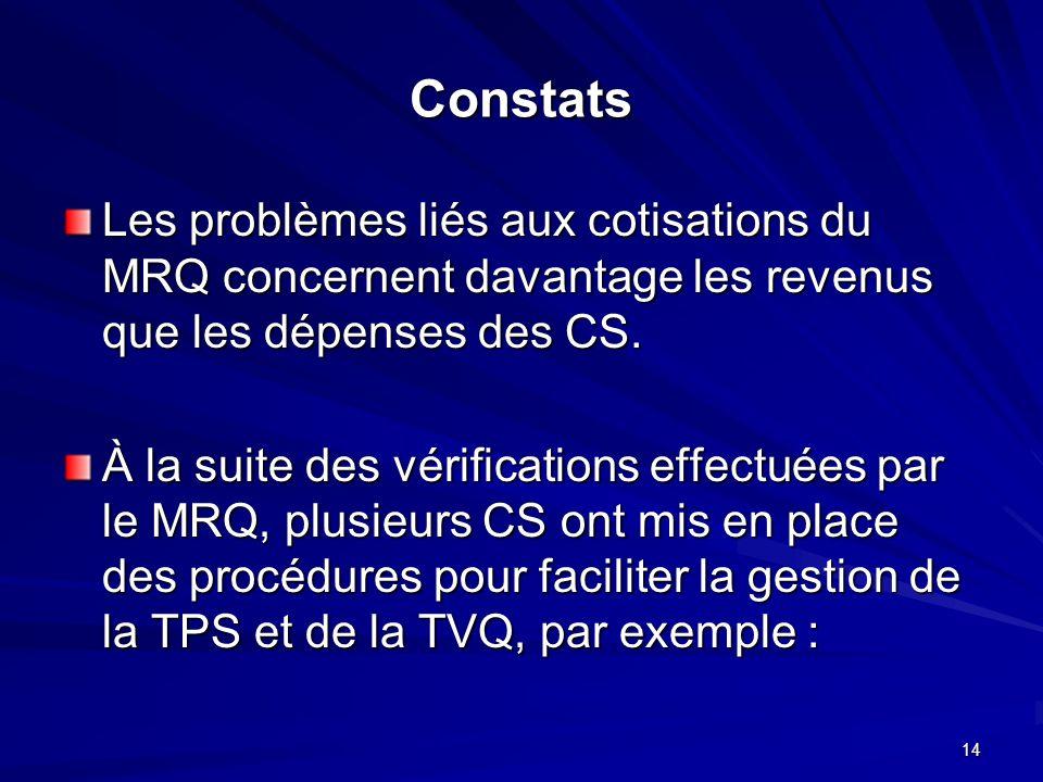 14 Constats Les problèmes liés aux cotisations du MRQ concernent davantage les revenus que les dépenses des CS.