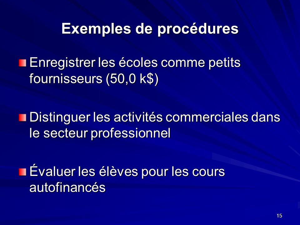 15 Exemples de procédures Enregistrer les écoles comme petits fournisseurs (50,0 k$) Distinguer les activités commerciales dans le secteur professionnel Évaluer les élèves pour les cours autofinancés