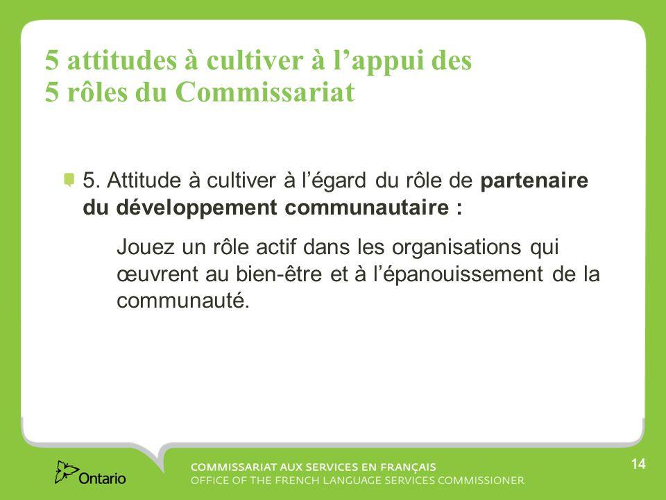 14 5 attitudes à cultiver à lappui des 5 rôles du Commissariat 5.
