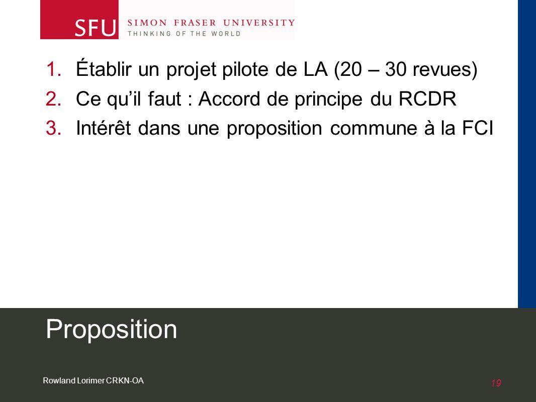 Rowland Lorimer CRKN-OA 19 Proposition 1.Établir un projet pilote de LA (20 – 30 revues) 2.Ce quil faut : Accord de principe du RCDR 3.Intérêt dans une proposition commune à la FCI