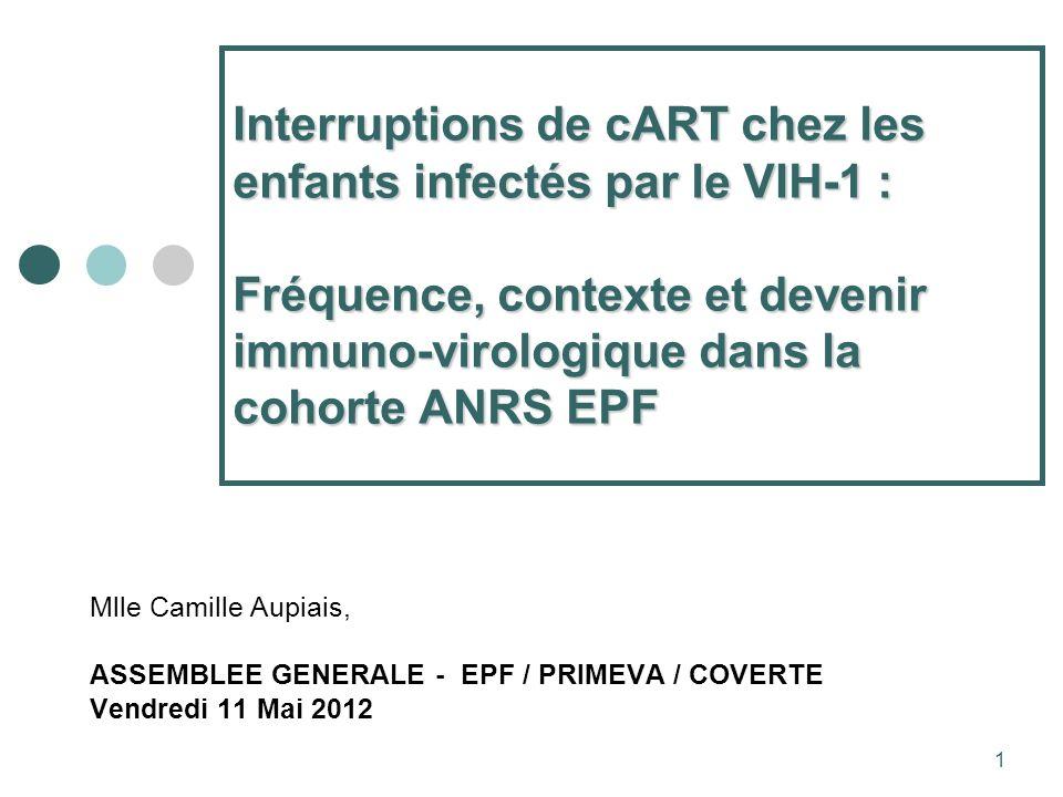 1 Interruptions de cART chez les enfants infectés par le VIH-1 : Fréquence, contexte et devenir immuno-virologique dans la cohorte ANRS EPF Mlle Camille Aupiais, ASSEMBLEE GENERALE - EPF / PRIMEVA / COVERTE Vendredi 11 Mai 2012
