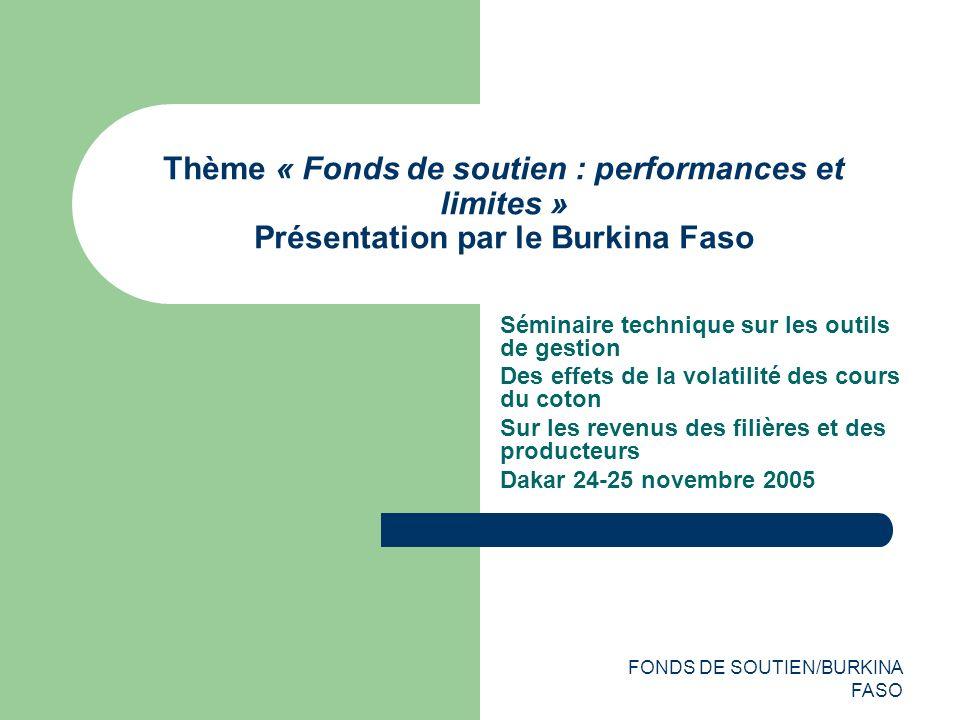 FONDS DE SOUTIEN/BURKINA FASO Thème « Fonds de soutien : performances et limites » Présentation par le Burkina Faso Séminaire technique sur les outils de gestion Des effets de la volatilité des cours du coton Sur les revenus des filières et des producteurs Dakar 24-25 novembre 2005