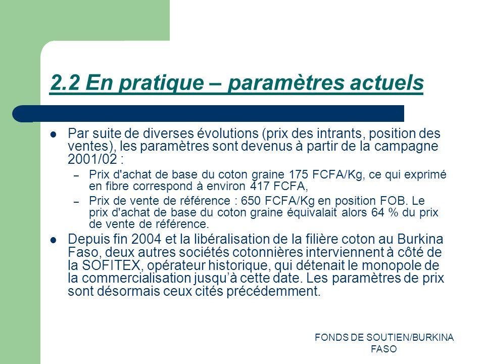 FONDS DE SOUTIEN/BURKINA FASO 2.2 En pratique – paramètres actuels Par suite de diverses évolutions (prix des intrants, position des ventes), les paramètres sont devenus à partir de la campagne 2001/02 : – Prix d achat de base du coton graine 175 FCFA/Kg, ce qui exprimé en fibre correspond à environ 417 FCFA, – Prix de vente de référence : 650 FCFA/Kg en position FOB.