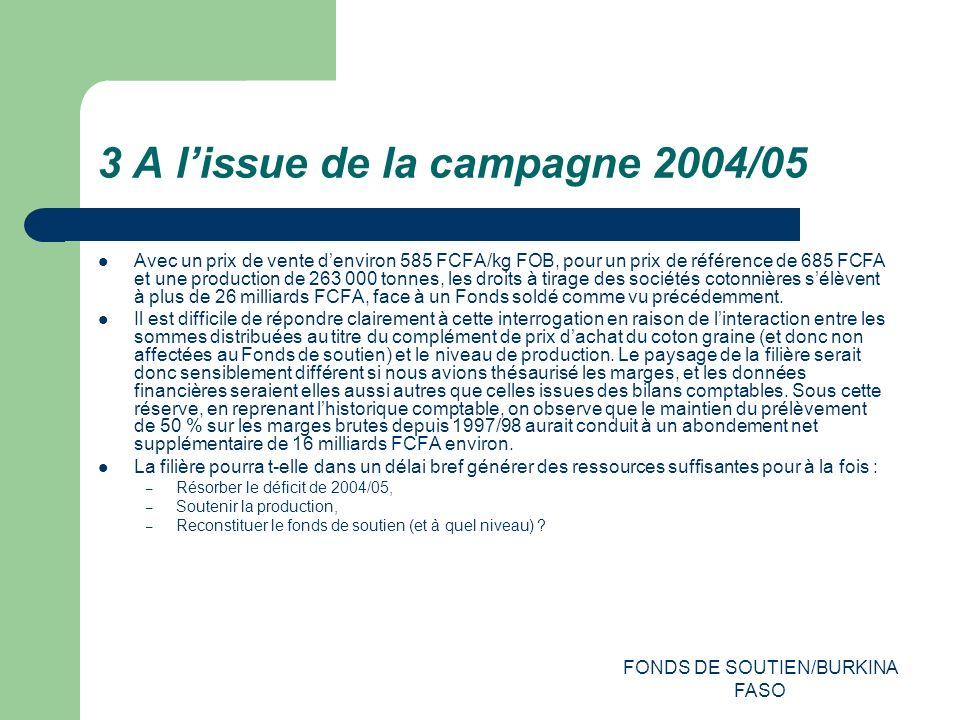 FONDS DE SOUTIEN/BURKINA FASO 3 A lissue de la campagne 2004/05 Avec un prix de vente denviron 585 FCFA/kg FOB, pour un prix de référence de 685 FCFA et une production de 263 000 tonnes, les droits à tirage des sociétés cotonnières sélèvent à plus de 26 milliards FCFA, face à un Fonds soldé comme vu précédemment.