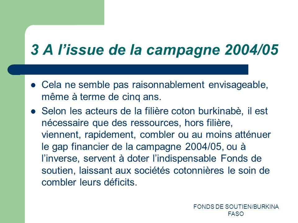 FONDS DE SOUTIEN/BURKINA FASO 3 A lissue de la campagne 2004/05 Cela ne semble pas raisonnablement envisageable, même à terme de cinq ans.