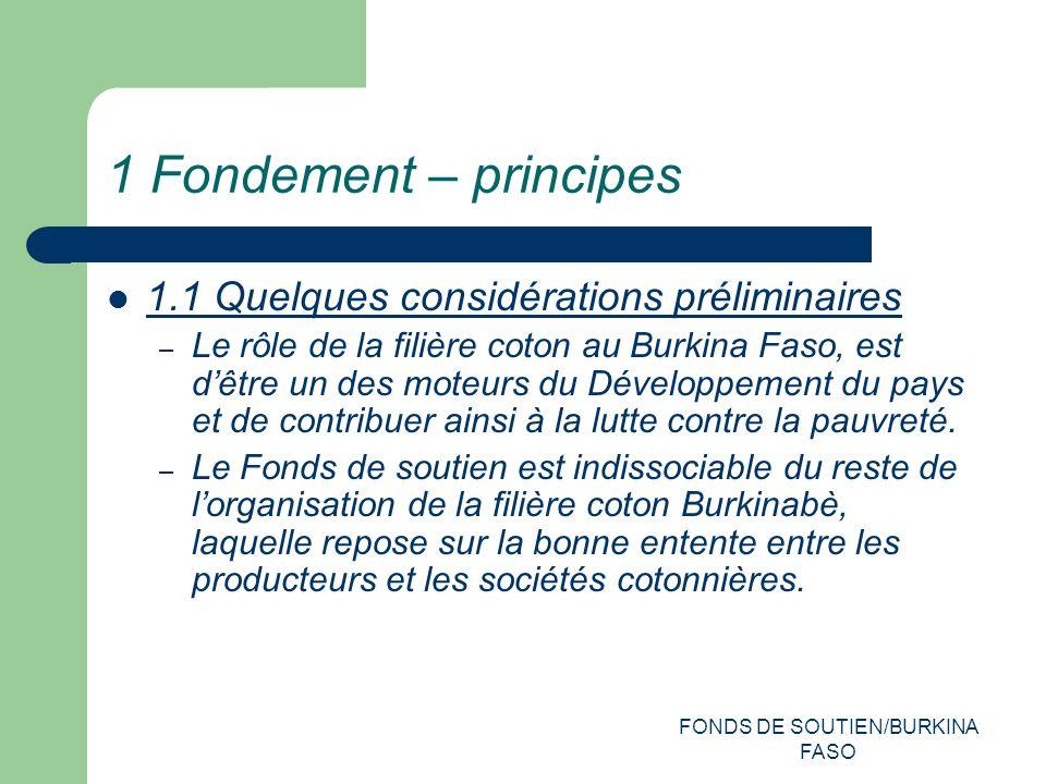 FONDS DE SOUTIEN/BURKINA FASO 1 Fondement – principes 1.1 Quelques considérations préliminaires – Le rôle de la filière coton au Burkina Faso, est dêtre un des moteurs du Développement du pays et de contribuer ainsi à la lutte contre la pauvreté.