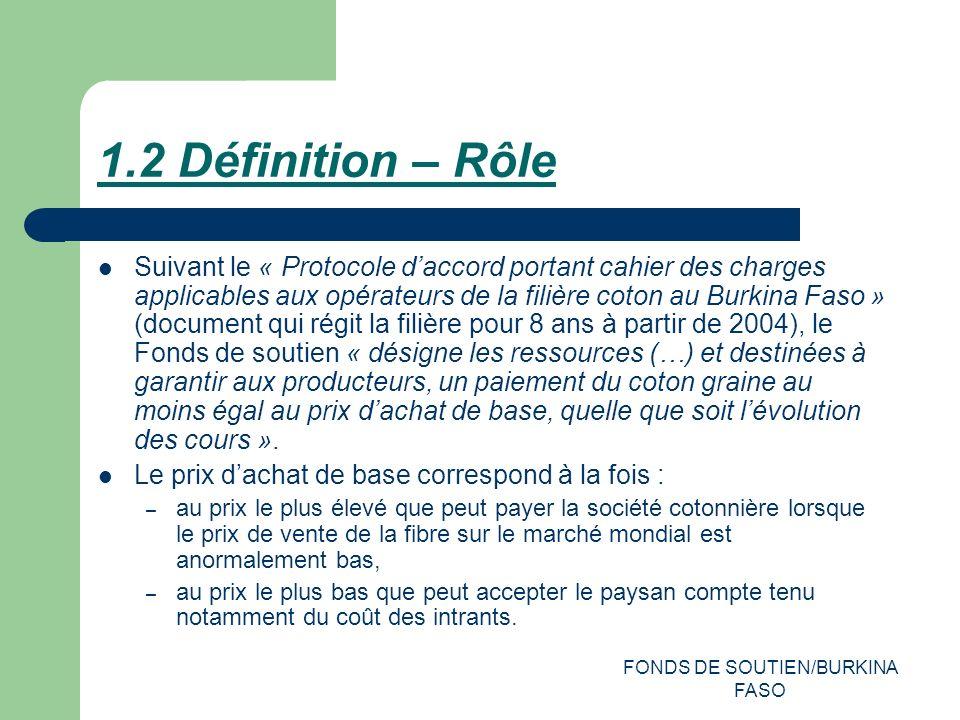 FONDS DE SOUTIEN/BURKINA FASO 1.2 Définition – Rôle Suivant le « Protocole daccord portant cahier des charges applicables aux opérateurs de la filière coton au Burkina Faso » (document qui régit la filière pour 8 ans à partir de 2004), le Fonds de soutien « désigne les ressources (…) et destinées à garantir aux producteurs, un paiement du coton graine au moins égal au prix dachat de base, quelle que soit lévolution des cours ».