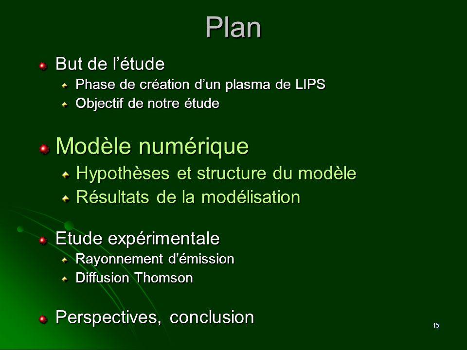 15 Plan Plan But de létude Phase de création dun plasma de LIPS Objectif de notre étude Modèle numérique Hypothèses et structure du modèle Résultats d