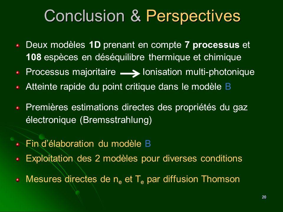 20 Conclusion & Perspectives Deux modèles 1D prenant en compte 7 processus et 108 espèces en déséquilibre thermique et chimique Processus majoritaire