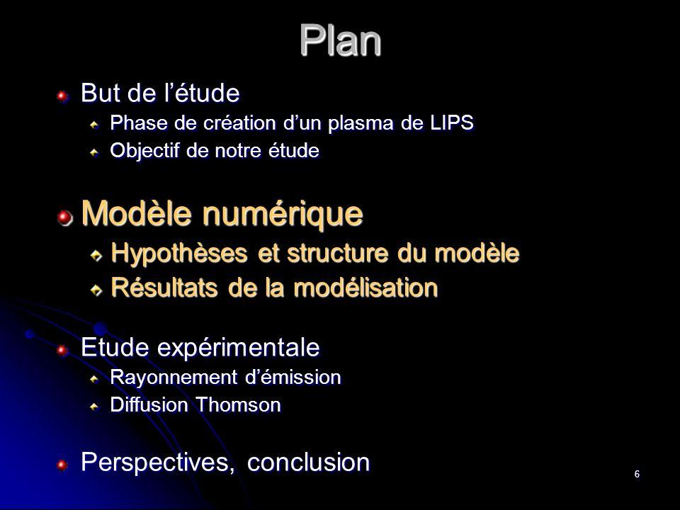 6 Plan Plan But de létude Phase de création dun plasma de LIPS Objectif de notre étude Modèle numérique Hypothèses et structure du modèle Résultats de