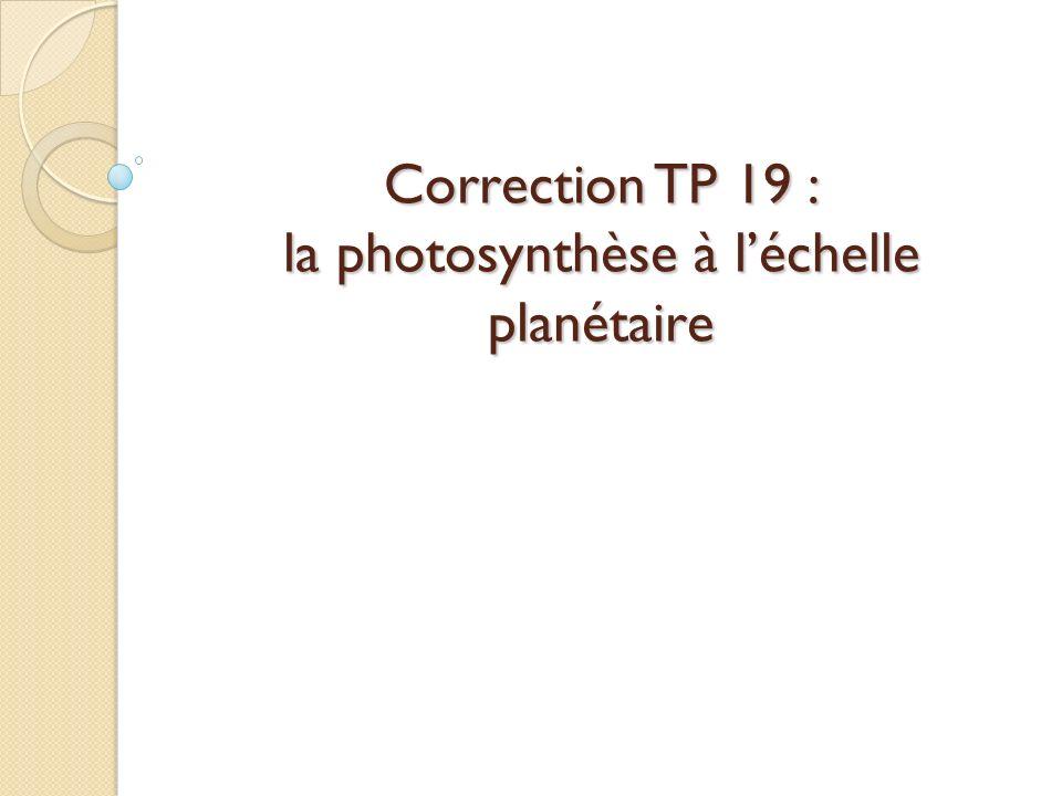 Correction TP 19 : la photosynthèse à léchelle planétaire