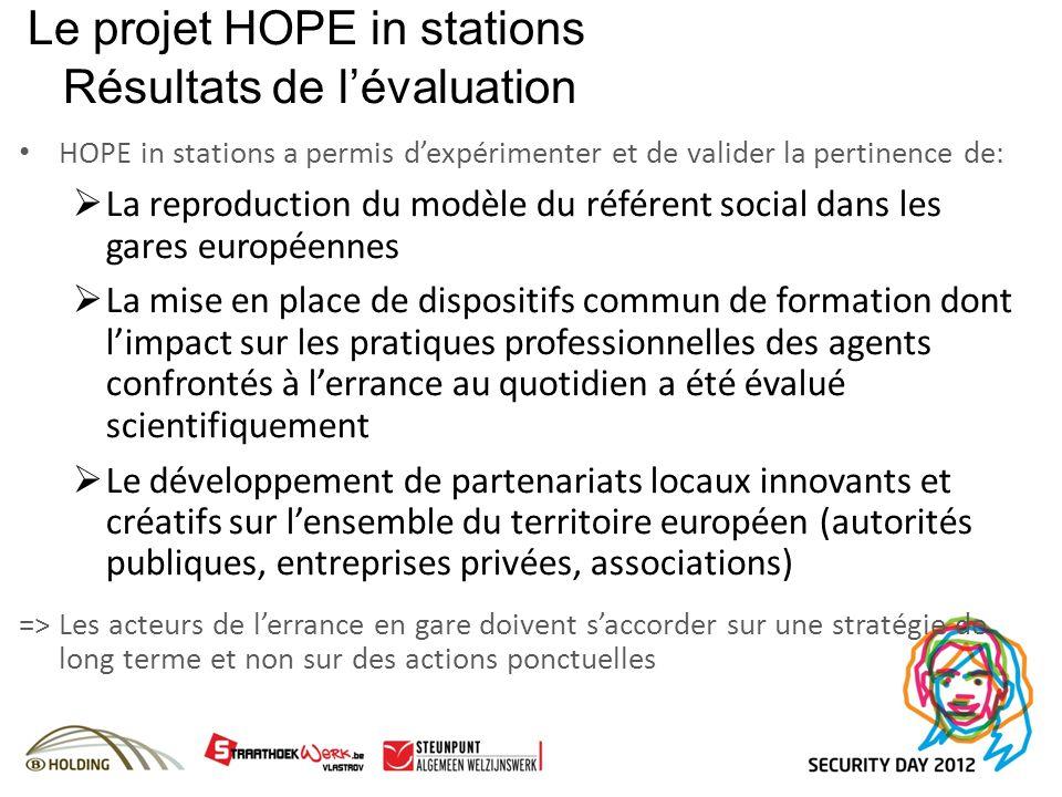 Le projet HOPE in stations Résultats de lévaluation HOPE in stations a permis dexpérimenter et de valider la pertinence de: La reproduction du modèle
