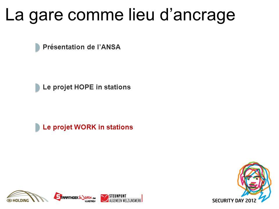 La gare comme lieu dancrage Le projet WORK in stations Le projet HOPE in stations Présentation de lANSA