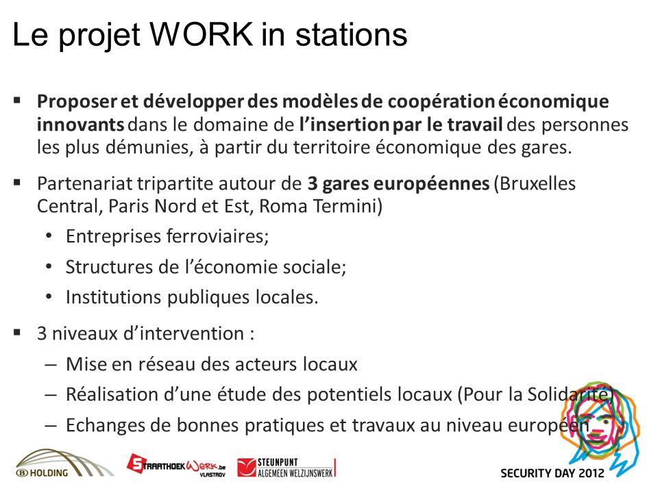 Le projet WORK in stations Proposer et développer des modèles de coopération économique innovants dans le domaine de linsertion par le travail des personnes les plus démunies, à partir du territoire économique des gares.