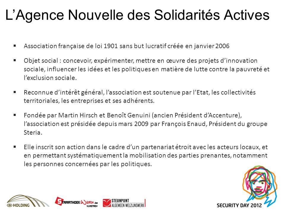 LAgence Nouvelle des Solidarités Actives Association française de loi 1901 sans but lucratif créée en janvier 2006 Objet social : concevoir, expérimen