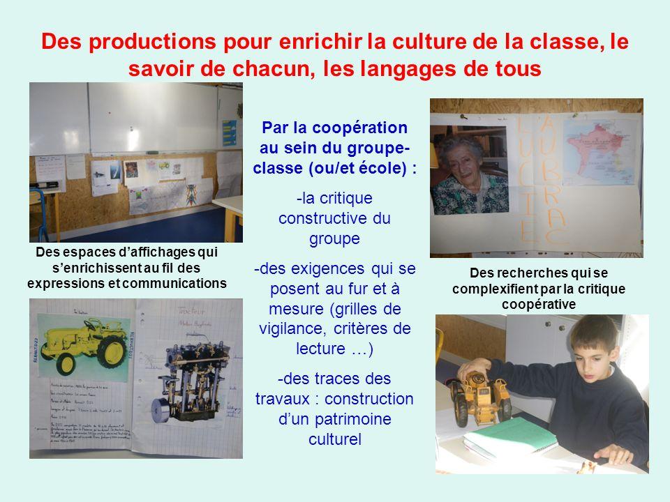 Des productions pour enrichir la culture de la classe, le savoir de chacun, les langages de tous Par la coopération au sein du groupe- classe (ou/et é