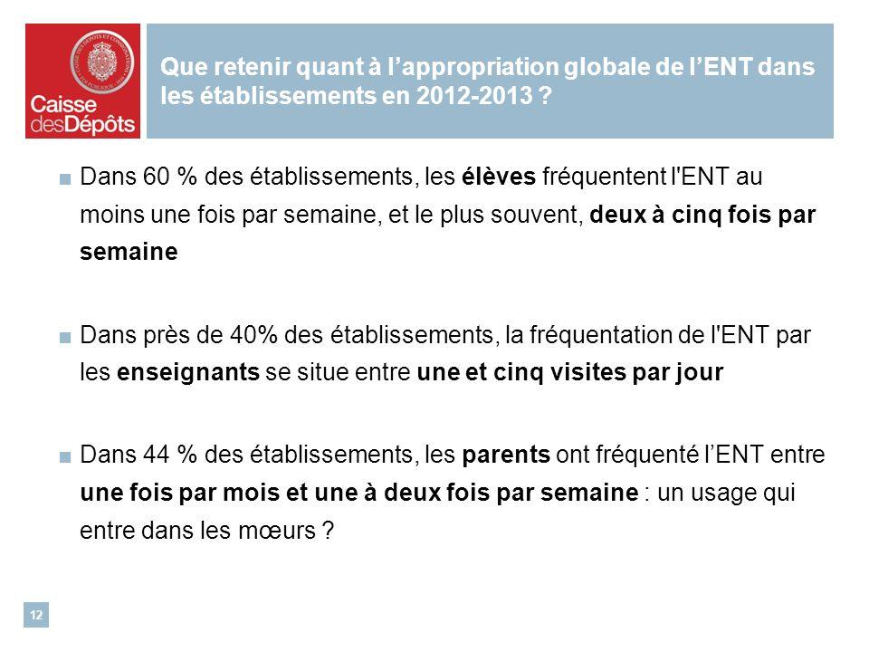Que retenir quant à lappropriation globale de lENT dans les établissements en 2012-2013 .