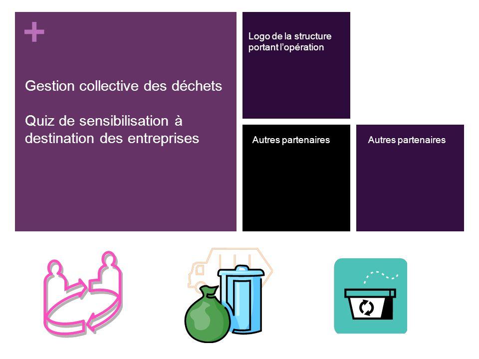 + Gestion collective des déchets Quiz de sensibilisation à destination des entreprises Logo de la structure portant lopération Autres partenaires