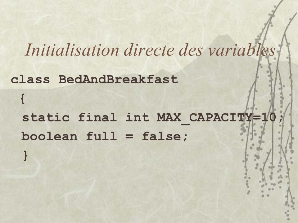 Initialisation directe des variables class BedAndBreakfast { static final int MAX_CAPACITY=10; boolean full = false; }