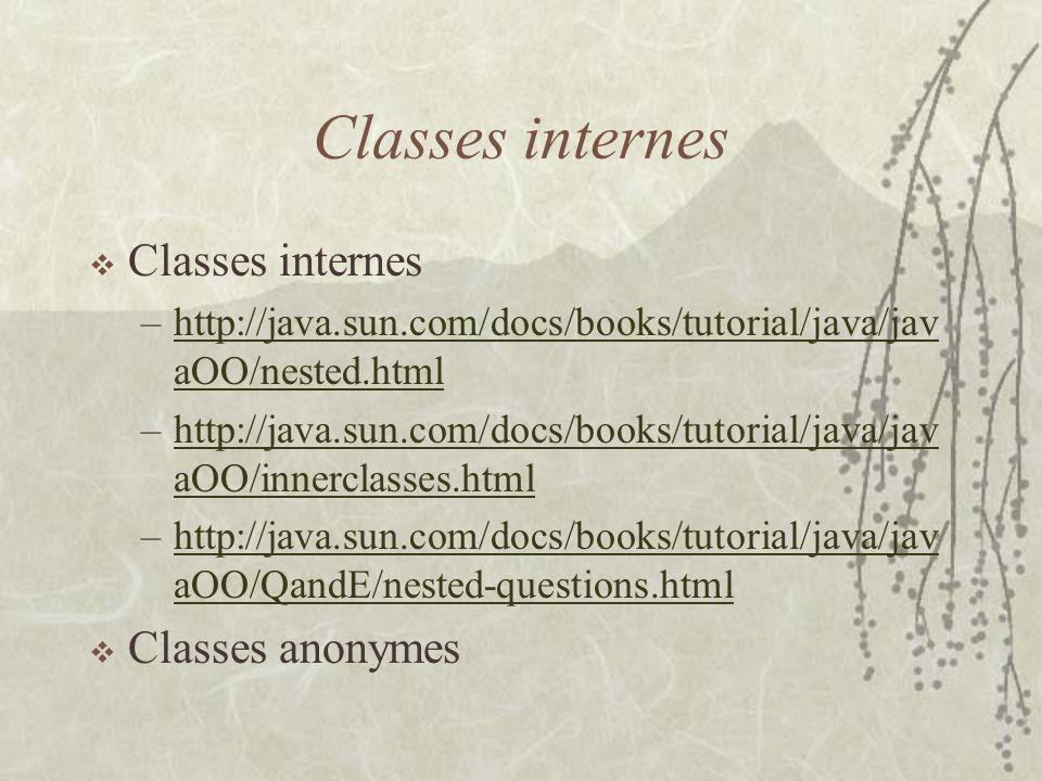 Classes internes –http://java.sun.com/docs/books/tutorial/java/jav aOO/nested.htmlhttp://java.sun.com/docs/books/tutorial/java/jav aOO/nested.html –ht