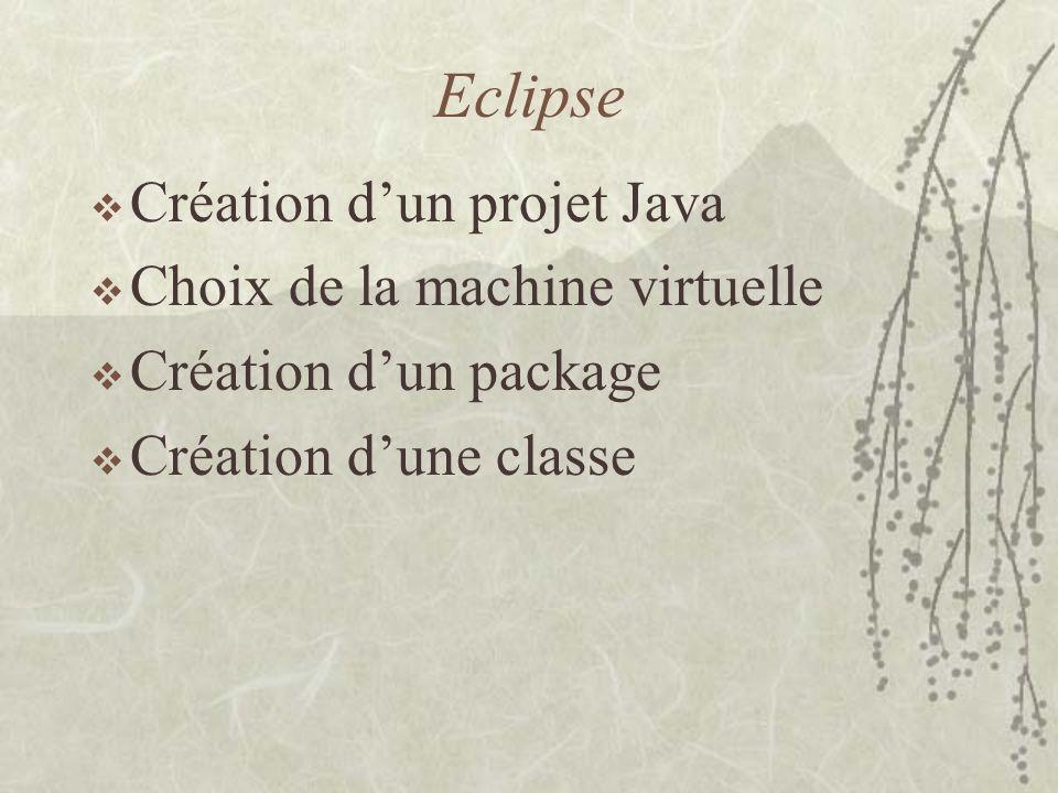 Eclipse Création dun projet Java Choix de la machine virtuelle Création dun package Création dune classe