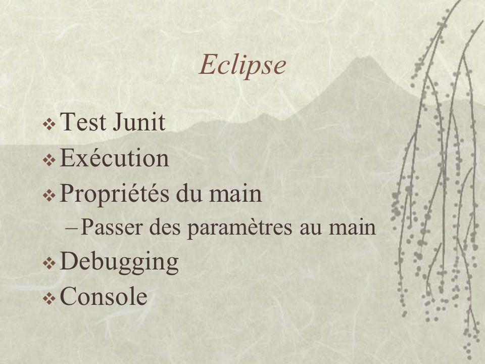 Eclipse Test Junit Exécution Propriétés du main –Passer des paramètres au main Debugging Console
