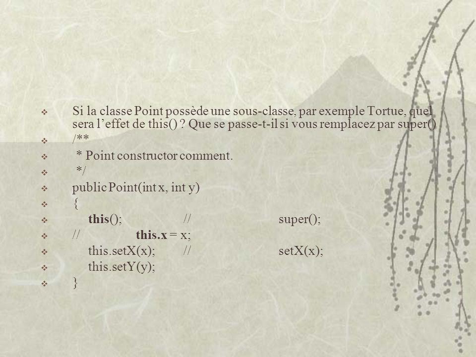 Si la classe Point possède une sous-classe, par exemple Tortue, quel sera leffet de this() ? Que se passe-t-il si vous remplacez par super() /** * Poi