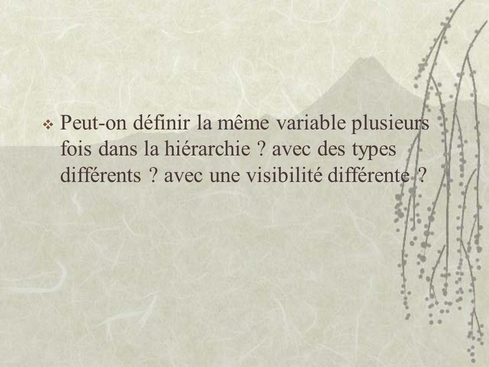 Peut-on définir la même variable plusieurs fois dans la hiérarchie ? avec des types différents ? avec une visibilité différente ?