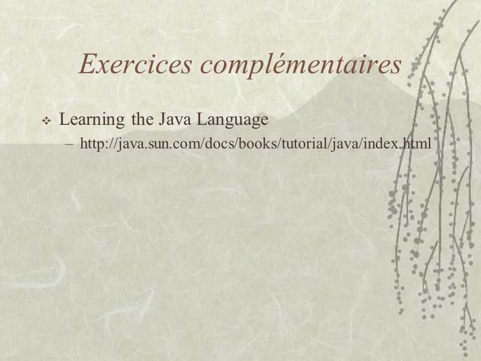 Exercices complémentaires Learning the Java Language –http://java.sun.com/docs/books/tutorial/java/index.html
