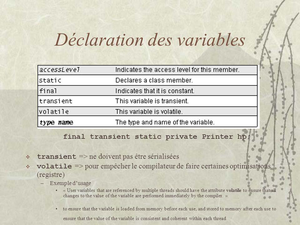 Déclaration des variables final transient static private Printer hp; transient => ne doivent pas être sérialisées volatile => pour empêcher le compila