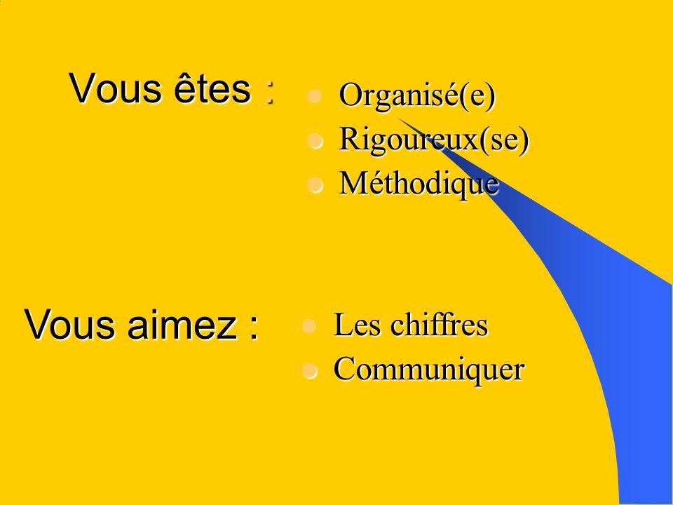 Vous êtes : Vous êtes : Organisé(e) Rigoureux(se) Rigoureux(se) Méthodique Méthodique Vous aimez : Les chiffres Les chiffres Communiquer Communiquer