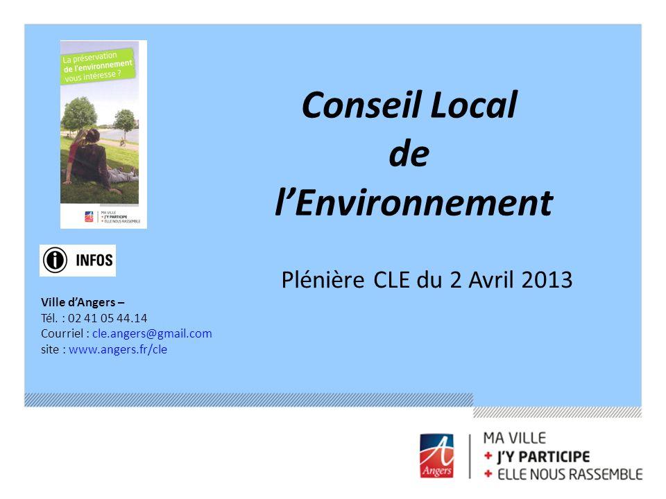 Conseil Local de lEnvironnement Ville dAngers – Tél. : 02 41 05 44.14 Courriel : cle.angers@gmail.com site : www.angers.fr/cle Plénière CLE du 2 Avril