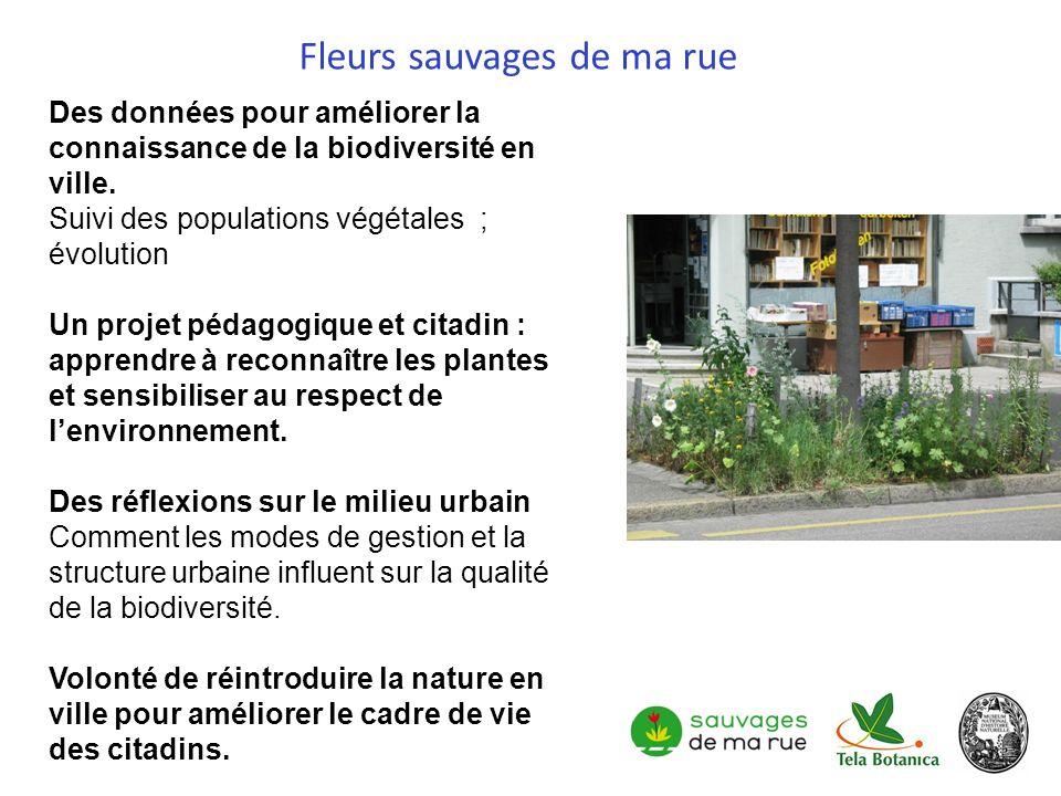 Des données pour améliorer la connaissance de la biodiversité en ville. Suivi des populations végétales ; évolution Un projet pédagogique et citadin :