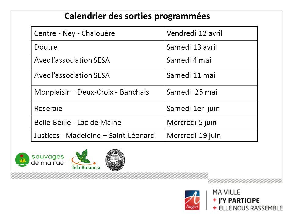 Calendrier des sorties programmées Centre - Ney - ChalouèreVendredi 12 avril DoutreSamedi 13 avril Avec lassociation SESASamedi 4 mai Avec lassociatio
